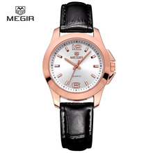 top brand Megir quartz watch man woman fashion genuine leather water resistant wristwatches 5006 free shipping