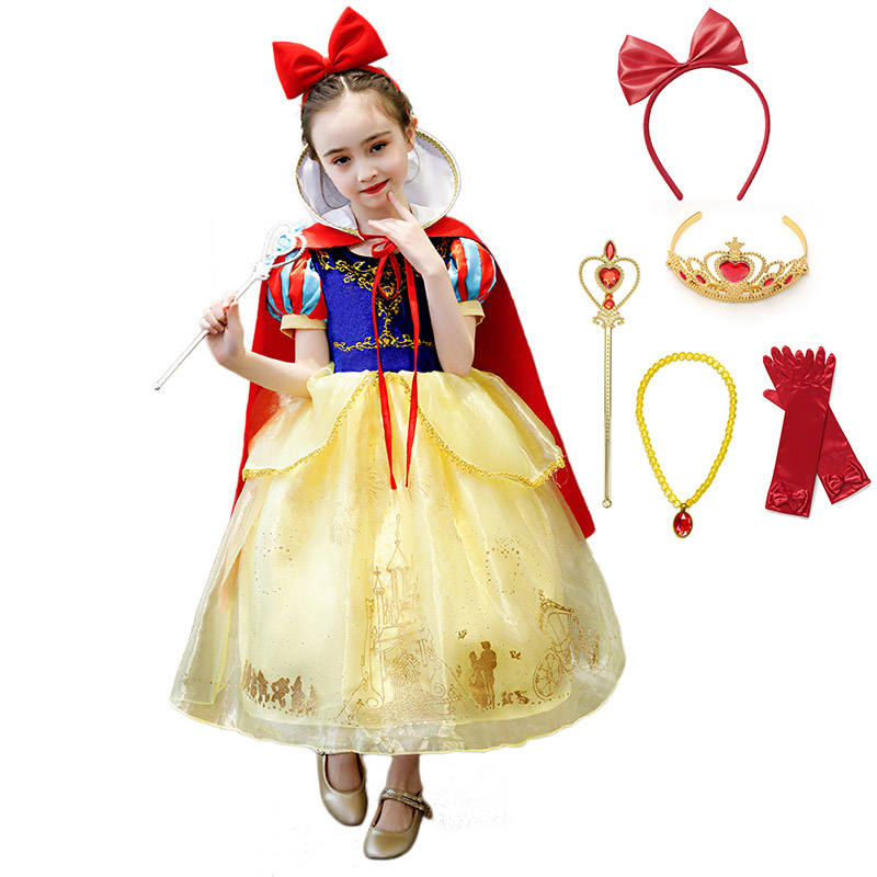 Fancy Fairy Tale Snow White Costume For Girls Dress Children's Party Cosplay Princess Ball Gown Kids Carnival Role Play Clothing