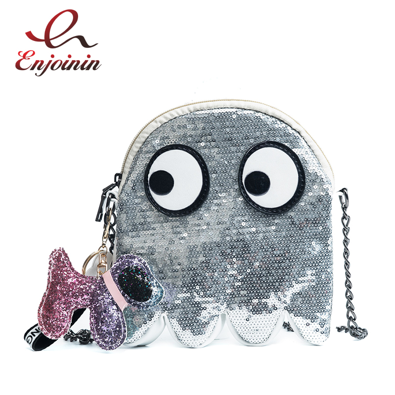 Fashion Sequin Monster Design Fun Design Pu Leather Women's Shoulder Bag Crossbody Mini Messenger Bag Flap Handbag Chain Purse lemon design chain bag