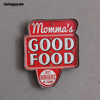 Momma's Good Food Vintage LED Light Signs Decorative Painting Pub Bar Restaurant Cafe Advertising Signage Hanging Metal Signs