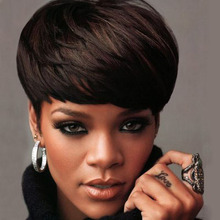 Fashion Black Women's Wig Charming Short Mushroom Head Cut Wig Straight Hair Short Blonde Wig Natural Color Full Wigs WIG007 z63