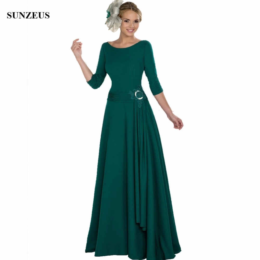 A Line Half Sleeve Long Green Mother Of The Bride Dresses