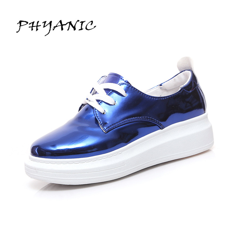 PHYANIC 2017 Bling Loafers Patent PU Leather Platform Shoes Woman Casual Lace-Up Flats Silver Pink Women Shoes PHY4907 phyanic crystal shoes woman 2017 bling gladiator sandals casual creepers slip on flats beach platform women shoes phy4041