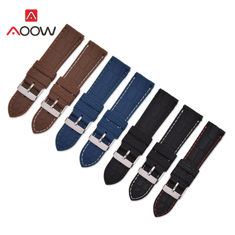 AOOW Silicone Sport Watch Band Universal Watchband Strap Wrist Belt Bracelet Crocodile Pattern Strap Silver Metal Buckle Clasp