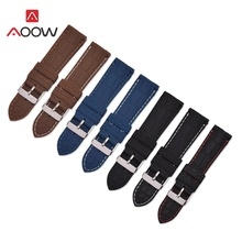 AOOW Silicone Sport Watch Band Universal Watchband Strap Wrist Belt Bracelet Crocodile Pattern Silver Metal Buckle Clasp