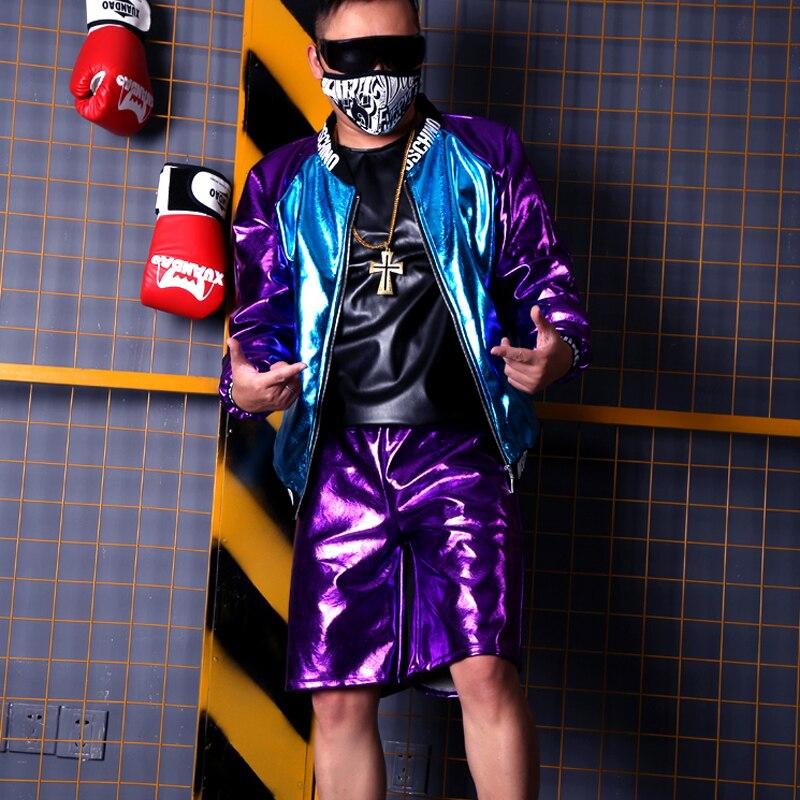 Por Púrpura Hombre jacket Abrigo Hop Hip Encargo Azul Shorts Streetwear Casual Hombres Chaqueta Trajes Empalme Etapa Pu Moda HvfwHqYrx