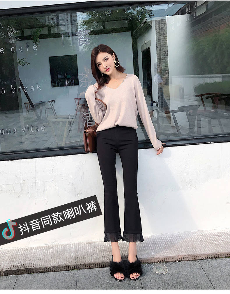 2019 Trousers Women High Waist Bell Bottom Metal Ring Flare Pants Wide Leg Pants Big Plus Size XL Black White Female Capris PP05 29