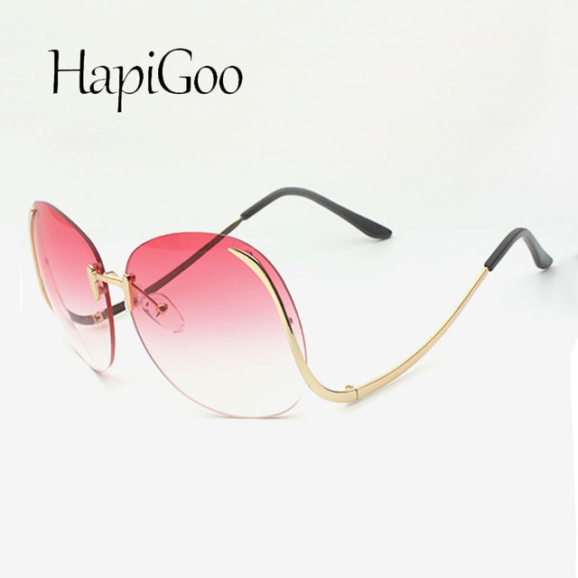 2e2edb7d5a Fashion Vintage Round Rimless Clear Oversized Sunglasses Women Brand  Designer Sun Glasses Metal Frame Retro Big