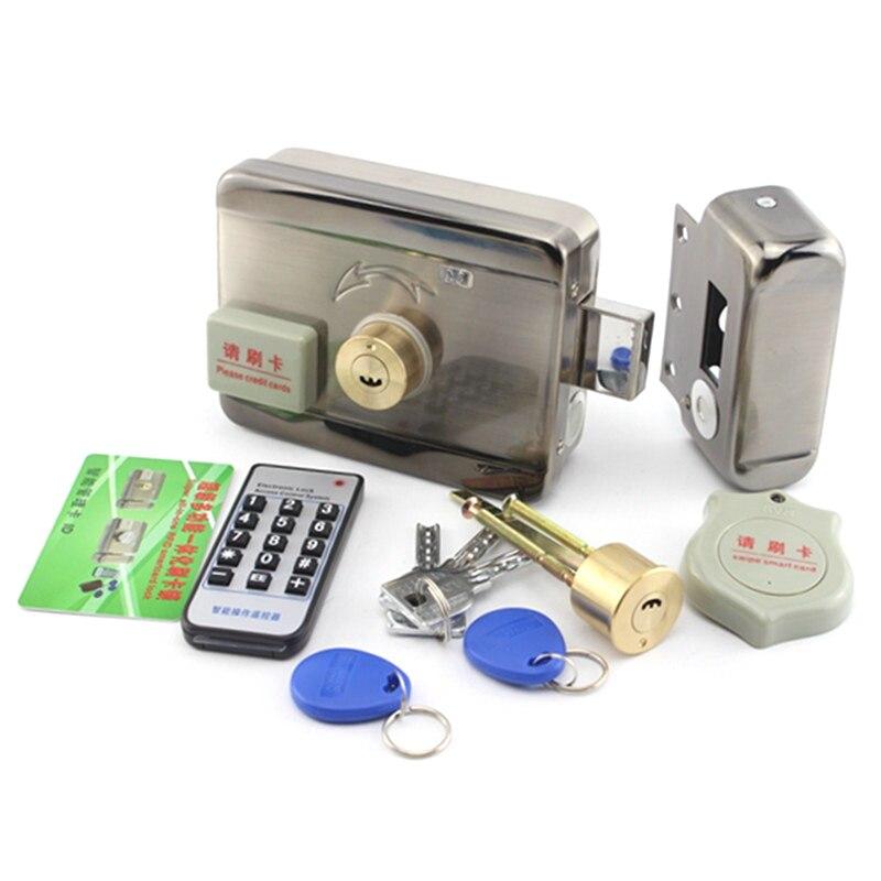 DC12V Electronic integrated RFID reader Rim lock for door intercom access control with 10 125khz ID keyfob