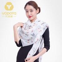 Hongkong Yopota pure silk scarf 100% mulberry printing summer sun protective thin long shawl topgrade gift free shipping