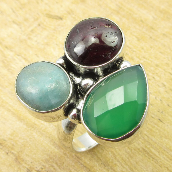 Silver Plated GREEN ONYX, STAR SIMULATED RUBY, SKY Agates Ring Size 7.5 NEW
