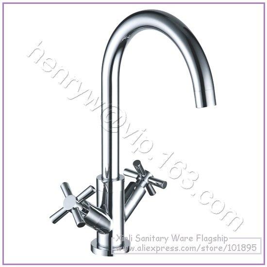 L16586-robinet de luxe à double poignée en laiton chromé couleur eau chaude et froide
