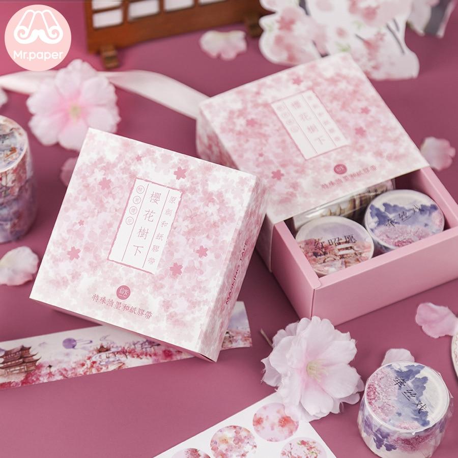 Mr Paper 3+3pcs Gift Package Stickers Washi Tape Sets Gold Stamping Crane Special Ink Sakura Stickers Scrapbooking Masking Tapes