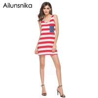 Ailunsnika Summer Fashion Sundress Red White National Flag Striped Dress For Women Bow Casual Mini Tank Dress S-XXL MD17036