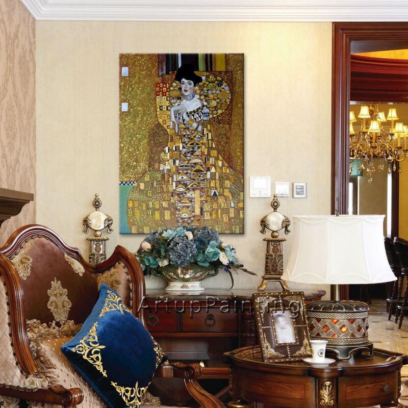 Wand dekoration bilder Gustav Klimt ölgemälde auf Leinwand handgemaltes Der Kuss Gemälde Für Wohnzimmer - 3