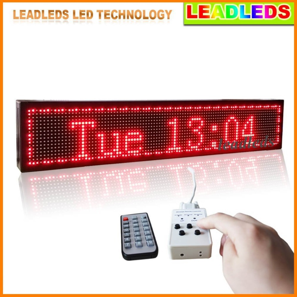 P10 High brightness red Programmable LED Display Scrolling Message Remote Controller to Display Designated Message