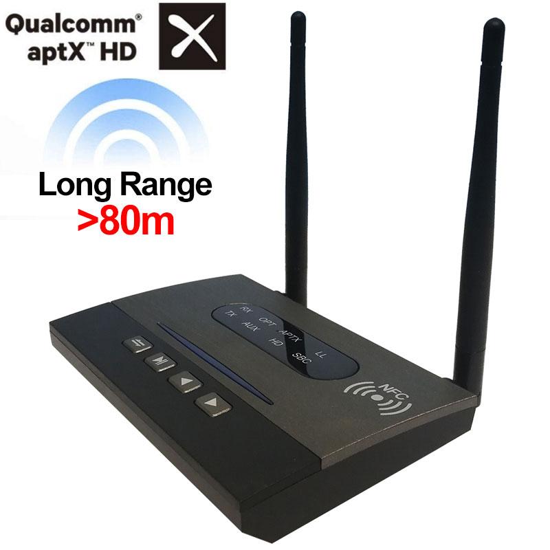 AptX HD transmetteur bluetooth Récepteur NFC Longue Portée transmetteur bluetooth TV Optique Wirelss adaptateur audio 5.0 Bypass pour La Maison