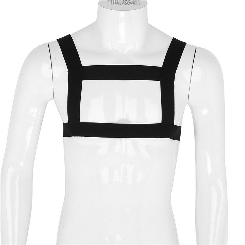 iEFiEL Mens Lingrie High Elastic Shoulder Strap Chest Harness Muscle Support Brace Belt Body Bondage Harness Straps Costumes