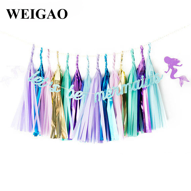 WEIGAO 1Set Mermaid Theme Party Decoration Lets Be Mermaid Banner Kids Birthday Party Garland Bunting Flags Baby Shower Supply