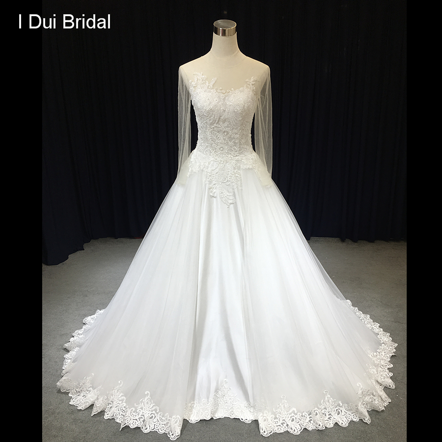 Shop Wedding Gowns: Aliexpress.com : Buy Sheer Sleeve Wedding Dress A Line