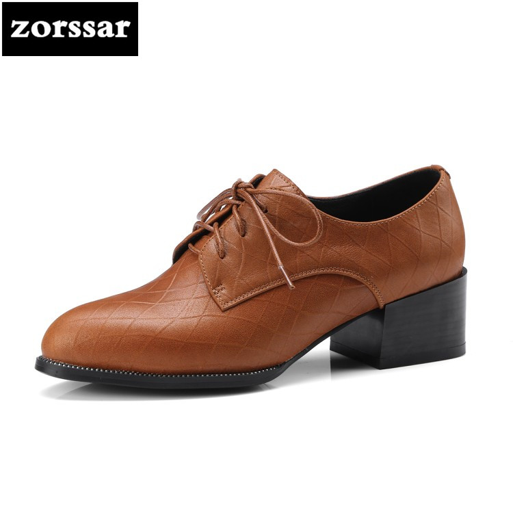 {Zorssar} 2018 NEW fashion Leisure Square heel womens shoes heels Pointed toe High heels pumps dress ladies shoes big size 33-42 lady glitter high fashion designer brand bow soft flock plus size 43 leisure pointed toe flats square heels single shoes slip on