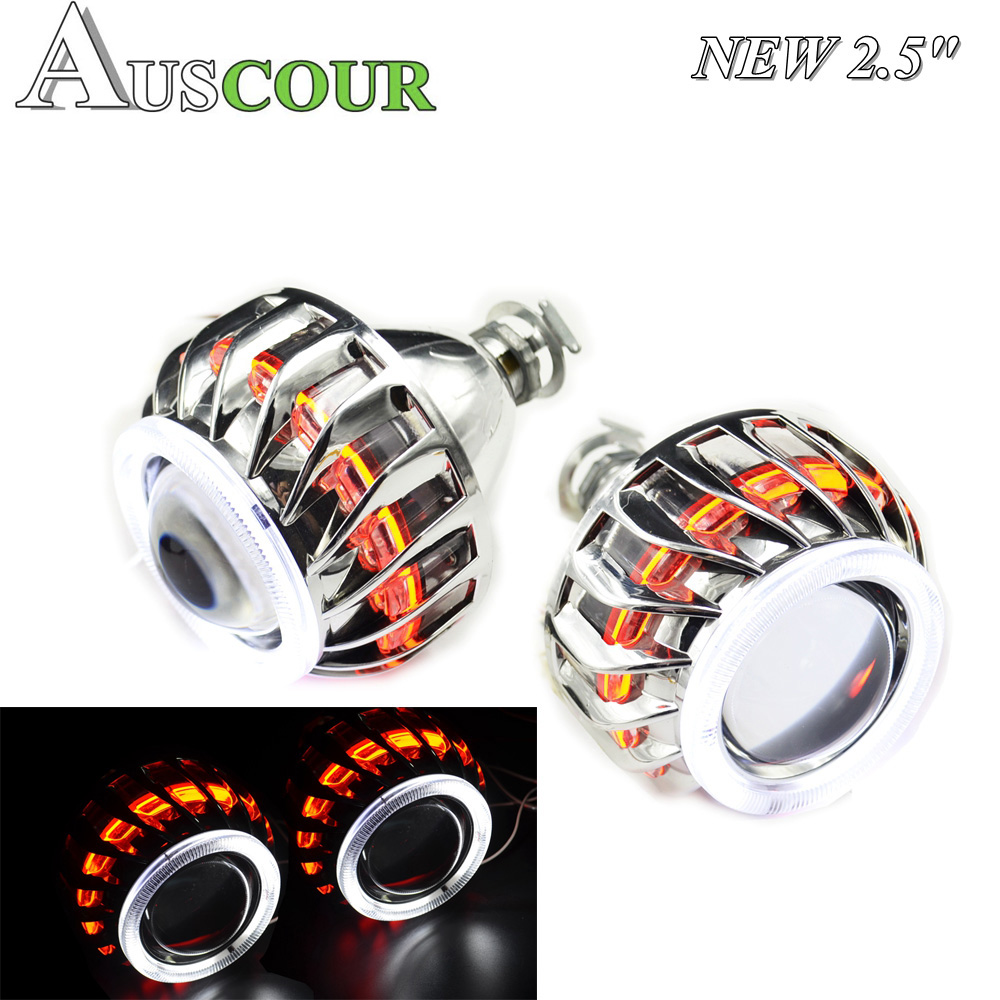 2.5 inch mini Bi xenon hid Projector lens with Fire wheel angel eyes shrouds H1 H4 H7 car headlight Headlamp car assembly Modify 2 5 inch mini bi xenon hid projector lens with fire wheel angel eyes shrouds h1 h4 h7 retrofit car assembly kit drl new version