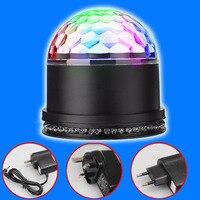 Sound Actived Auto RGB Mini Rotating Magic Disco Ball Strobe Stage Lights For DJ Dancing Show