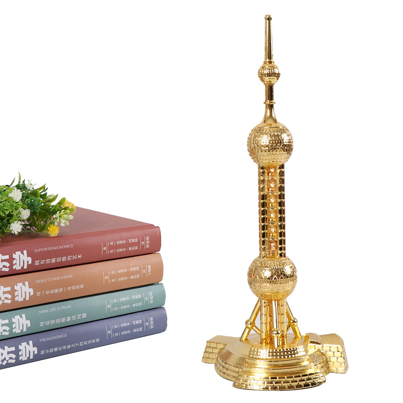 Champions League Trophy Oriental Pearl Tower Model Souvenir Ornaments Metal Building Trophy Cup Shanghai Travel Gifts