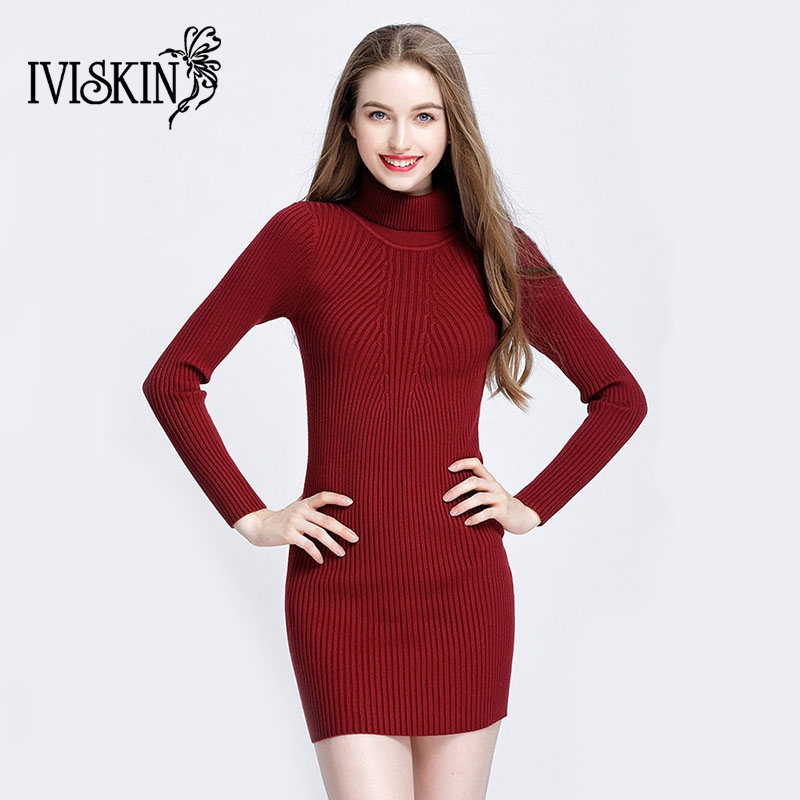 New Casual turtleneck long knitted sweater dress women Cotton slim bodycon dress pullover female Autumn winter dress 2017 new women spring autumn knitted sweater dress cotton slim pullover female bodycon party club wear dresses