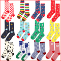 Quality Happy Brand Men Novelty illustration Cotton Socks Women Colorful Striped Dress Socks Fashion Mens Air Space Funny Socks