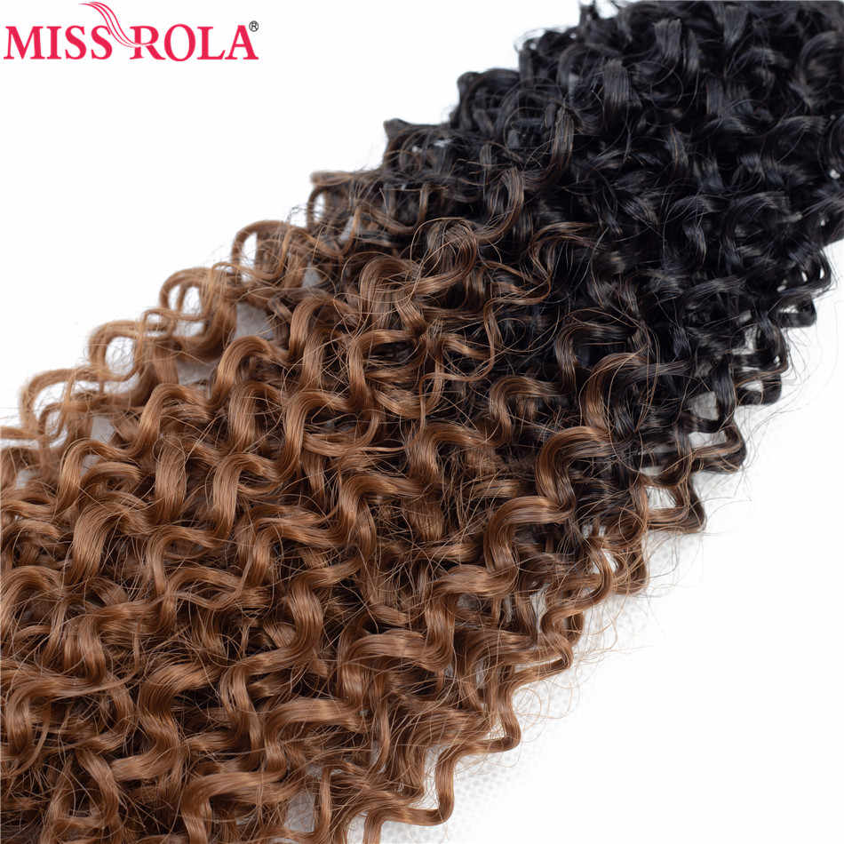 Miss Rola Ombre Hair Bundles Synthetic Curly Hair Extensions Hair Weaves T1B/30 18-22'' 6pcs/Pack 200G With Free Closure