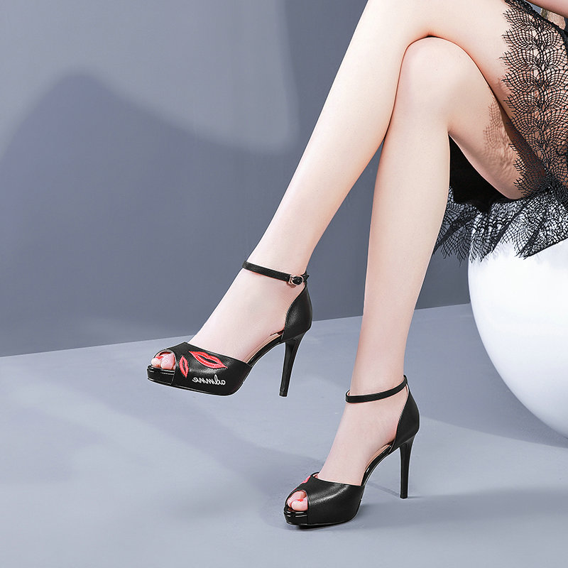 Las Sexy Negro Tacón Sandalias Mujer Zapatos La Tobillo De Fiesta Oficina Vaca Cuero Señoras blanco Alto Vestido Correa xSqwE0van