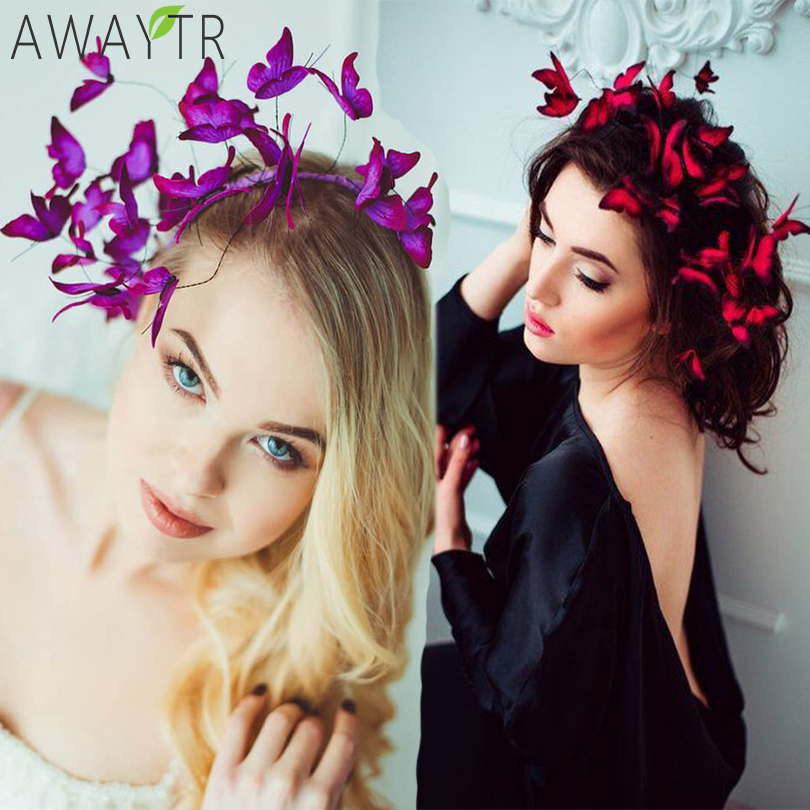 AWAYTR DIY Butterfly Crowns Hendband Simulation Girl Hairbands Fashion Hair Hoop Ladies Headpieces For Women Hair Accessories