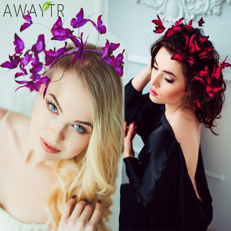 AWAYTR DIY Butterfly Crowns Hendband Simulation Girl Hairbands Fashion Hair Hoop Ladies Headpieces For Women Hair Accessories