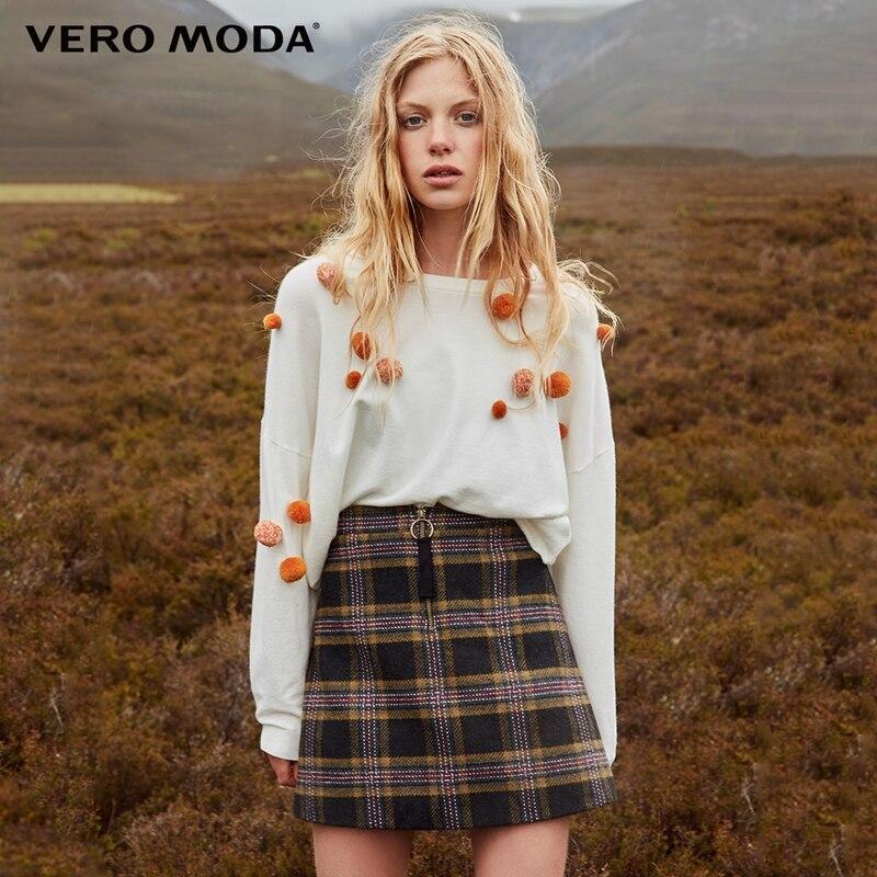 Vero Moda Women's Woolen Plaid Zipped Midi Skirt | 318316504