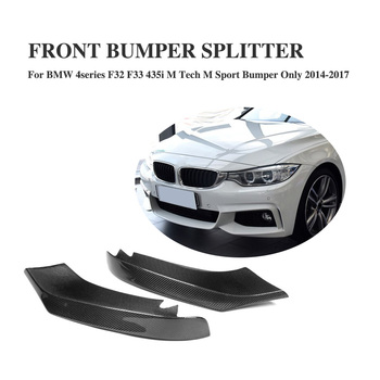 Free Shipping Carbon Fiber Front Lip Splitter Flaps for BMW 4 Series F32 F33 435i M Sport Coupe Convertible 2-Door 2014-2017 image
