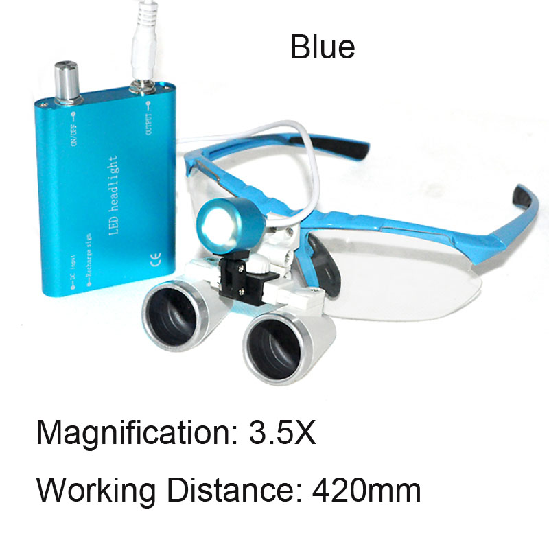 New Blue Dentist Dental Surgical Medical Binocular Loupes 3.5X 420mm Optical Glass Loupe+LED Head Light Lamp ce new 3 5x blue dental surgical binocular loupe 420mm led head light lamp