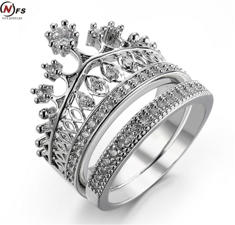 NFS Brand 2pcs Crown Zircon Ring For Woman White Gold Filled Exquisite AAA Cubic Zirconia Micro Pave Setting Princess Crown Ring