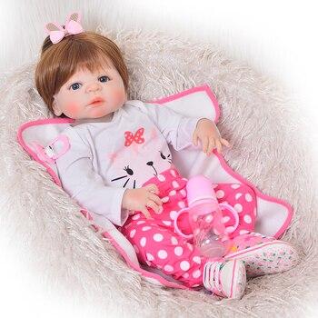 Lifelike 22'' Big size Reborn Baby Dolls hard Silicone Baby Newborn Doll Dressed Cartoon cat clothes Bathe girls Playmate doll