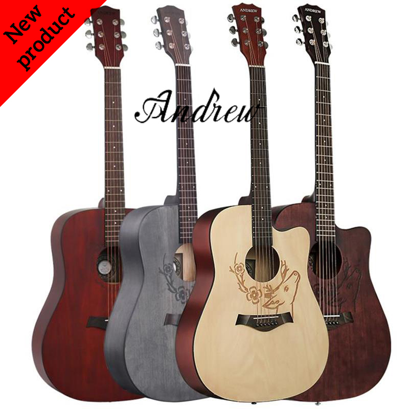 Andrew 41-inch folk guitar basswood mahogany classic pattern classic color beginners all-purpose guitar(China)