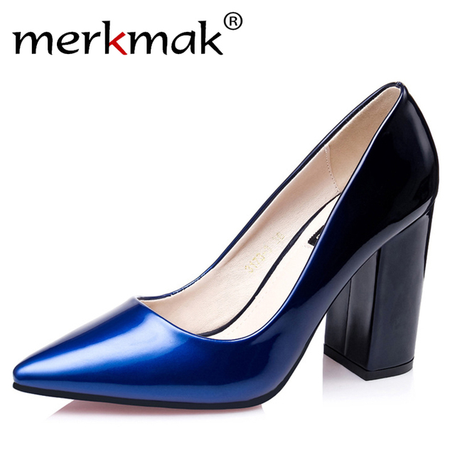 2016 New Hot Comfortable Color Change Elegant Shoes Women High Heels Sexy Party Office Pumps Thick Heel Ladies Shoes