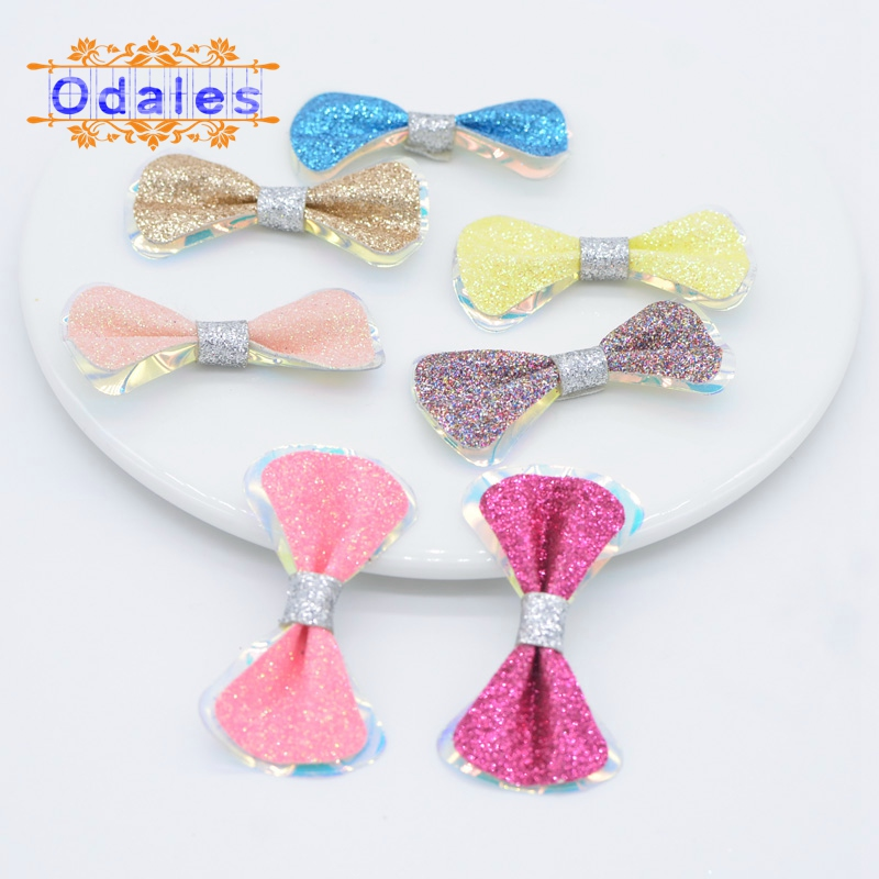 14Pcs Glitter Candy Paillette Bows Appliques for Hair Clip Decor Padded Patches for DIY Crafts Clothes Headwear Accessories