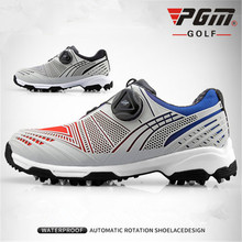 цена на PGM golf shoes children's waterproof sneakers rotating shoelaces anti-slip studs double patent shoes gradient XZ105