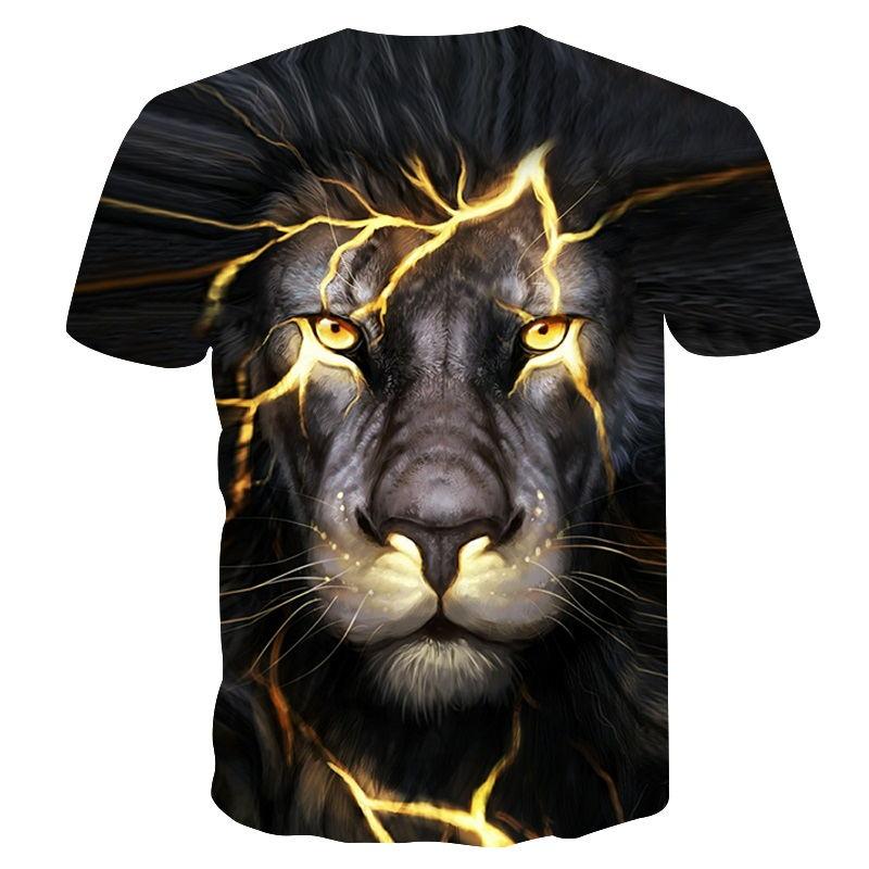 Newest 3D Print Lightning lion Cool T-shirt Men/Women Short Sleeve Summer Tops Tees Fitness T shirt Fashion Plus Size M-4XL