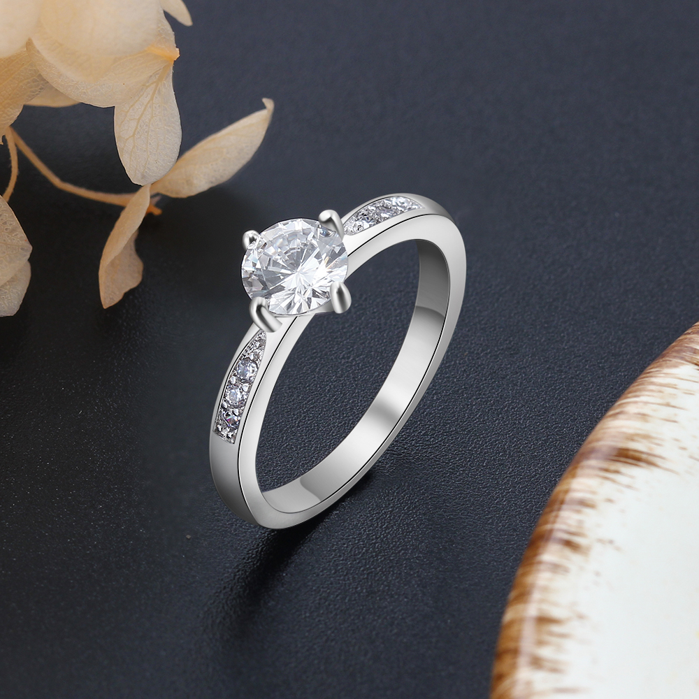 Promise кольцо из стерлингового серебра 925 с кубическим цирконием классические обручальные кольца для женщин подружки невесты подарки(JewelOra RI101321