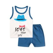 New Style Cotton Suit 2019 Baby Kid Boy Clothes Summer Boy Clothing Set Sleeveless Vest+Striped Short Pant 2PCs Kids Clothes Set стоимость