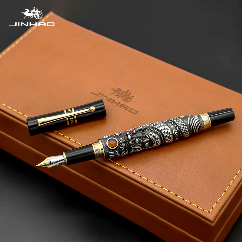Jinhao Golden Dragon Fountain Pen Luxury 0.5MM Nib 18KGP Calligraphy Ink Pens for Writing Business Office Supplies цены