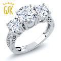 GemStoneKing 2.60 Ct Natural White Topaz White Sapphire Three Stone Engagement Ring 925 Sterling Silver Vintage Women's Ring