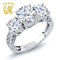 Gemstoneking 2.60 ct topázio branco natural branco sapphire three stone anel de noivado 925 sterling anel de prata das mulheres do vintage
