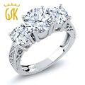 Gemstoneking 2.60 ct zafiro topacio blanco natural blanco tres de piedra anillo de compromiso de plata de ley 925 anillo de la vendimia de las mujeres
